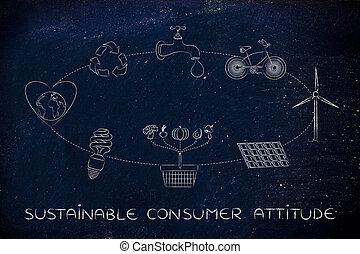 sviluppo sostenibile, atteggiamento, consumatore, diagramma