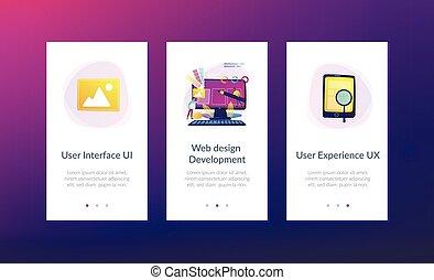 sviluppo, web, app, disegno, sagoma, interfaccia