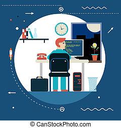 sviluppo, web, concetto, fondo, appartamento, elegante, simbolo, moderno, programmazione, illustrazione, vettore, disegno, lavori in corso, sagoma, scrivania, casa, programmatore, lavoro, icona