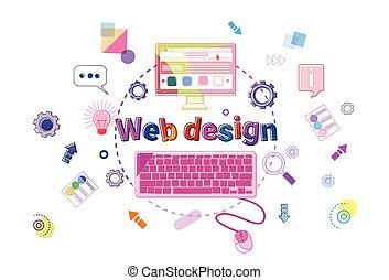 sviluppo, web, concetto, processo, programmazione, creativo, disegno, bandiera, software