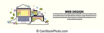 sviluppo, web, concetto, spazio, disegno, orizzontale, copia, bandiera