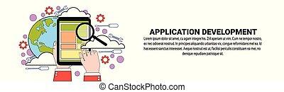 sviluppo, web, concetto, spazio, domanda, disegno, orizzontale, copia, bandiera
