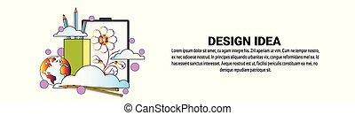 sviluppo, web, concetto, spazio, idea, disegno, orizzontale, copia, bandiera