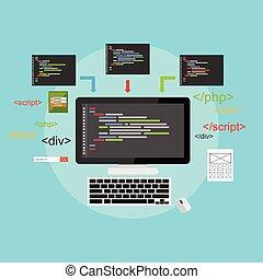 sviluppo, web, development., illustration., appartamento, concetto, codificazione, design., programmazione