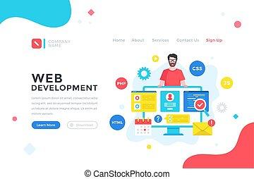 sviluppo, web, grafico, development., bandiera, appartamento, illustrazione, app, moderno, atterraggio, pagina, programmazione, website., disegno, codificazione, mobile, software, vettore, concept., elementi, sagoma