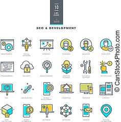 sviluppo, web, linea, colorare, icone