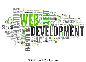sviluppo, web, parola, nuvola