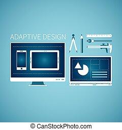 Sviluppo,  web, stile, grafico, appartamento, vettore, concetto, disegno, adattabile