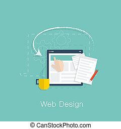 sviluppo, web, vect, disegno, progetto