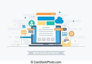 sviluppo, web, vettore, illustrazione