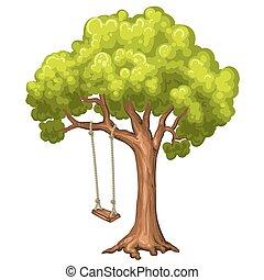 svinge, på, træ, ind, park.