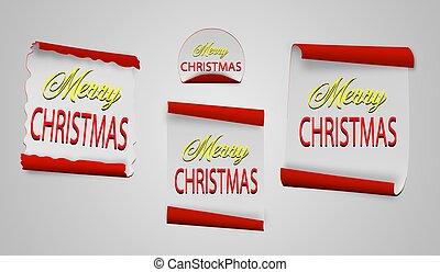 svitek, červeň, merry christmas, realistický, noviny, banners., vektor, illustration.