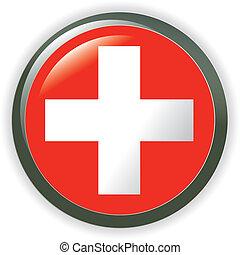 svizzera, baluginante, bottone, bandiera