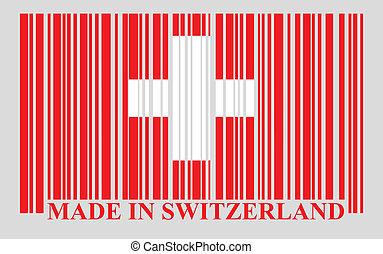 svizzera, barcode, bandiera, vettore