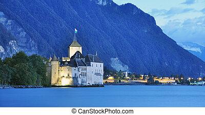 svizzera, chillon, lago, ginevra, castello