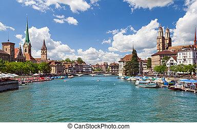 svizzera, fiume, zurigo, limmat