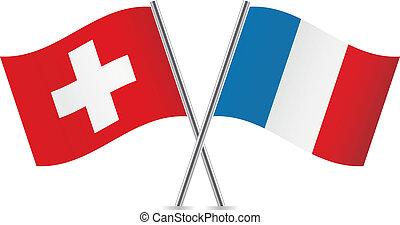 svizzera, flags., francese