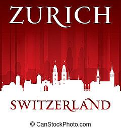 svizzera, fondo, orizzonte, zurigo, città, rosso, silhouette
