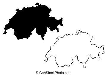 svizzera, mappa, vettore