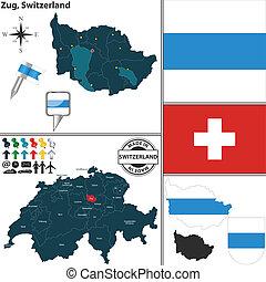svizzera, mappa, zug