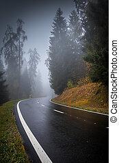 svizzera, nebbia, strada