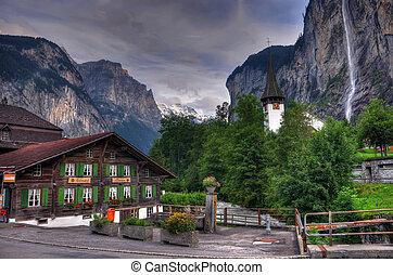 svizzera, paesaggio montagna, con, cascata