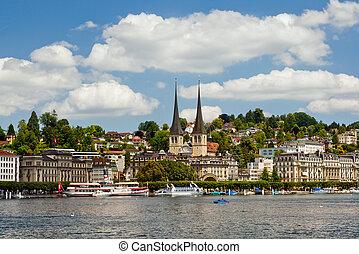 svizzera, panorama, vista, luzern