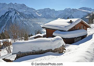 svizzera, scenario, braunwald, alpino