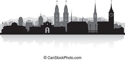 svizzera, skyline città, silhouette, zurigo