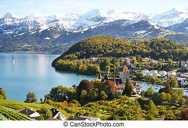 svizzera, spiez, castello