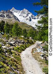 svizzera, traccia, segno, scia, alpi, andando gita