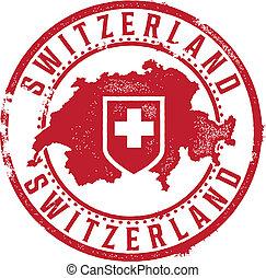 svizzera, vendemmia, paese, francobollo
