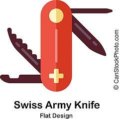 svizzero, appartamento, esercito, icona coltello