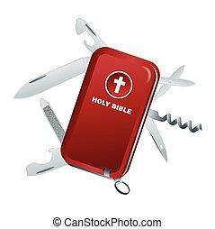 svizzero, bibbia, coltello, illustrazione, esercito