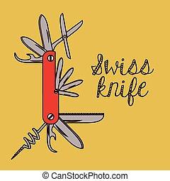 svizzero, disegno, coltello, esercito