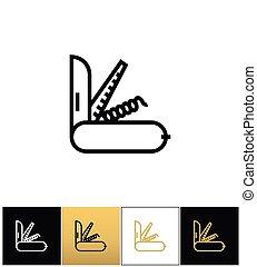 svizzero, esercito, vettore, icona coltello