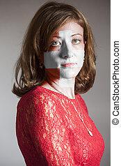 svizzero, faccia, bandiera, dipinto, donna