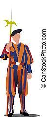 svizzero, guardia, vettore, vatican., illustrazione