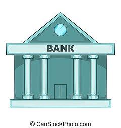 svizzero, icona, stile, cartone animato, banca