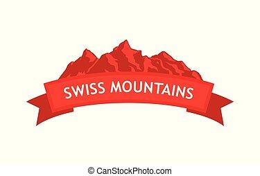 svizzero, logotipo, montagne