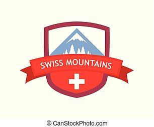 svizzero, montagne, emblema