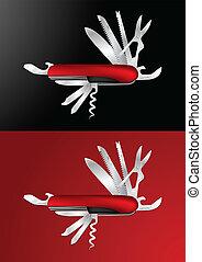 svizzero, vettore, coltello, esercito