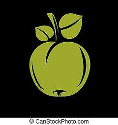 svobodný, jednoduchý, vektor, jablko, s, mladický list, zralý, lahodnost, ovoce, illustration., zdravý, a, organický food, sklízet, období, symbol.