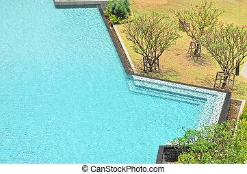 svobodný, kaluž, zahrada, forma, plavání