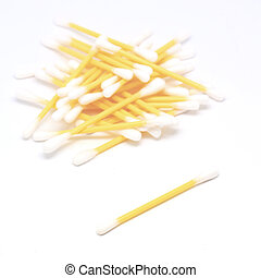 swab or cotton bud isolated on white background