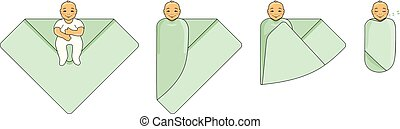Swaddle a baby. Instructions for use. Vector illustration