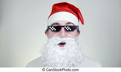 Swag Santa Claus in funny pixelated sunglasses on white background. Gangster, boss, thug life meme. 8bit style. Holly Jolly x Mas Noel. Cool grandfather. Party time, Happy New Year, Merry Christmas.