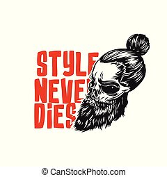 Swag Skull with beard vector illustration.
