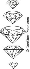 swag, vector, set., diamantes