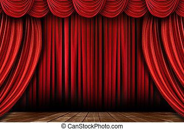 swags, tendaggio, molti, brillante rosso, palcoscenico